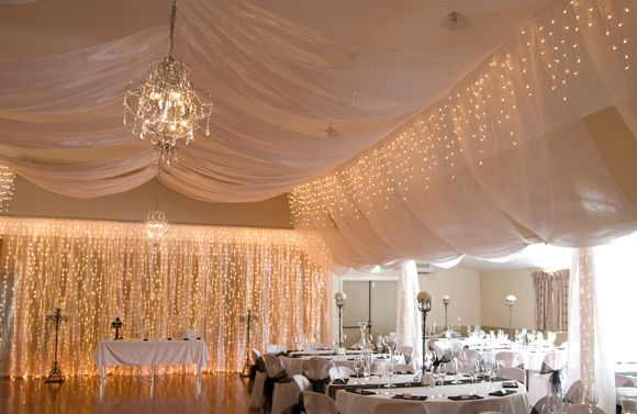Coatesville Hall wedding fairy lights and ceiling draping