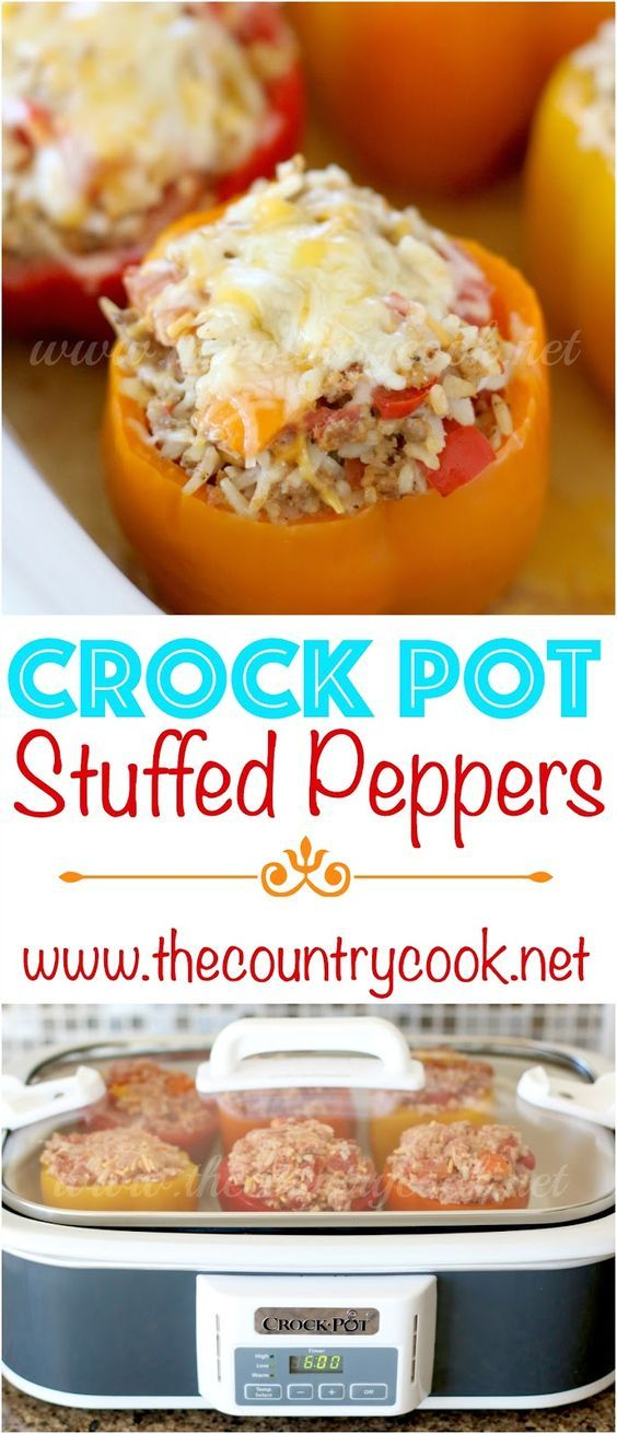 Crock Pot Stuffed Peppers recipe from The Country Cook. It has a secret ingredient up its sleeve! All made in the slow cooker. Ground beef, cooked rice and cheese all stuffed into green, orange, red or yellow peppers. So, so good! A classic favorite!