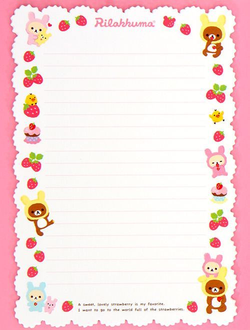Rilakkuma bear strawberry Letter Set du Japon1