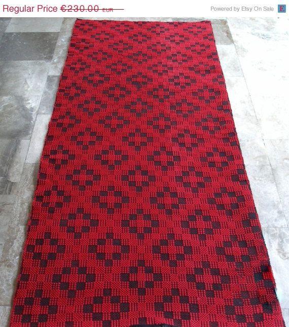 Vintage Kilim Rug Runner Geometric Red Cross-Black Cross by VintageHomeStories,  #CottageChic #RusticDecor #OrientalDecor #ShabbyChicDecor #MoroccanDecor