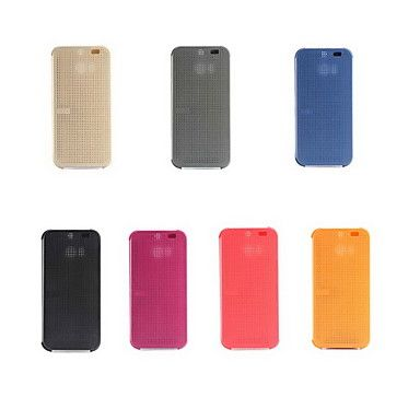 Original Smart Auto-Sleep HTC Dot View Flip Leather Case Cover for HTC One M8 with Dust plug(Assorted Colors) – USD $ 6.99