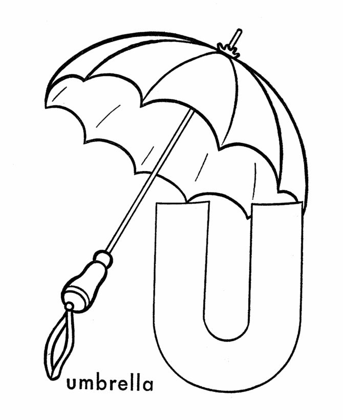 ABC Coloring Sheet, Letter U is for Umbrella