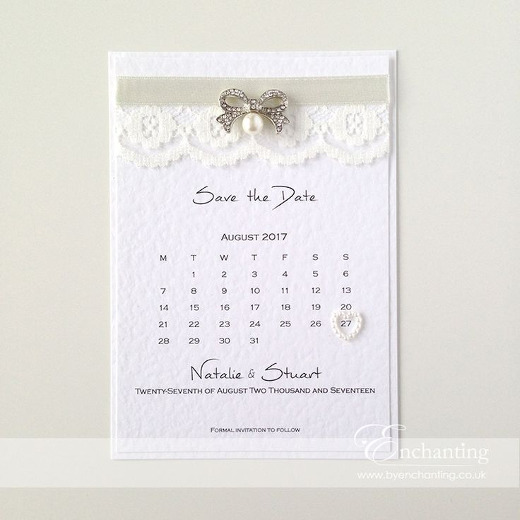 Lace Save the Date Calendar The