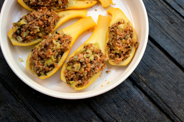 STUFFED YELLOW SQUASH http://www.freshbitesdaily.com/easy-stuffed-yellow-squash/