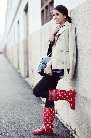 おしゃれなドット柄レインブーツ♡雨の日を乗り切る雨の日コーデ♡参考にしたスタイル・ファッション♡