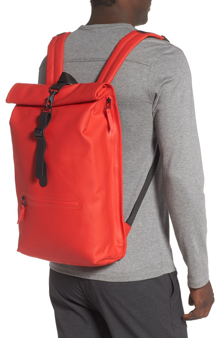 A durable, waterproof tech blend defines a classic backpack fitted with adjustable straps and a padded back panel for all-day ease. Style Name:Rains Waterproof Rolltop Backpack. Style Number: 5816508. Tote Backpack, Tote Bag, Waterproof Backpack, Cool Backpacks, Wash Bags, Cosmetic Bag, Nordstrom, Men's Bags, Shoulder Straps
