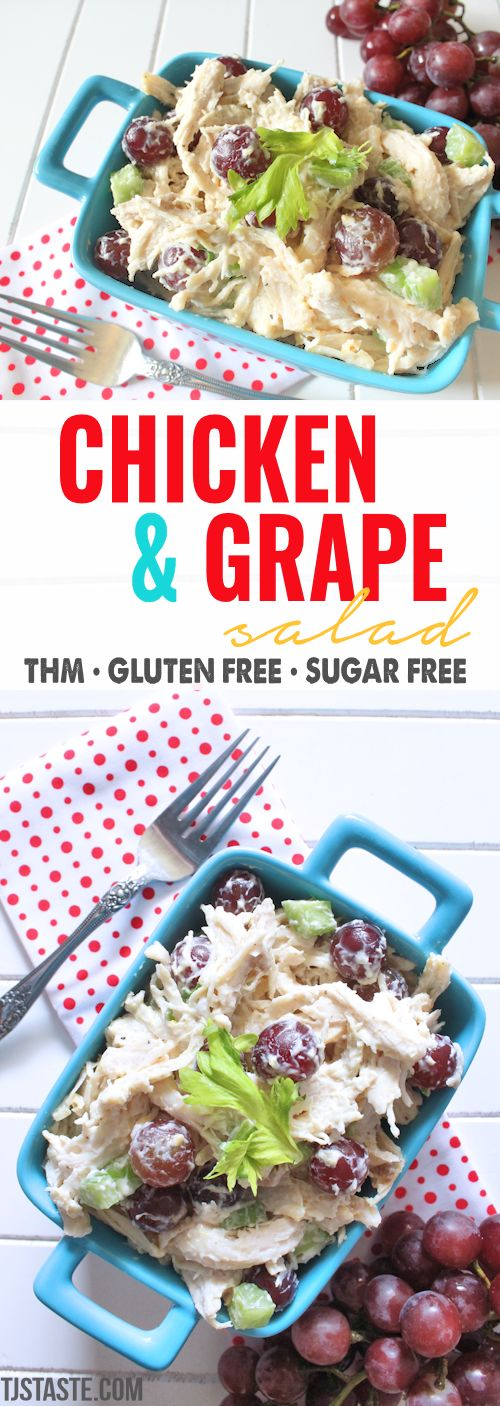 Chicken & Grape Salad • THM E via @TJsTaste