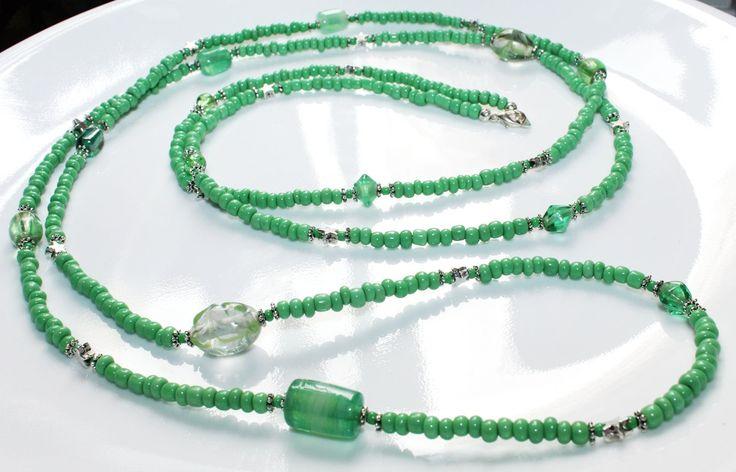 Long Green Beaded Star Wrap Bracelet / Necklace, Green Wrap Bracelet, Wrap Bracelet, Layered Bracelet, Long Green Necklace, Wrap Necklace by myVardo on Etsy