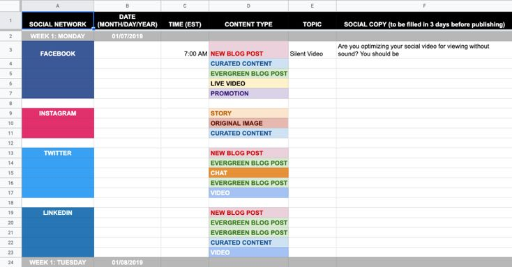 20 Social Media Templates To Save You Hours Of Work Social Media Content Calendar Template Social Media Schedule Template Social Media Calendar Template