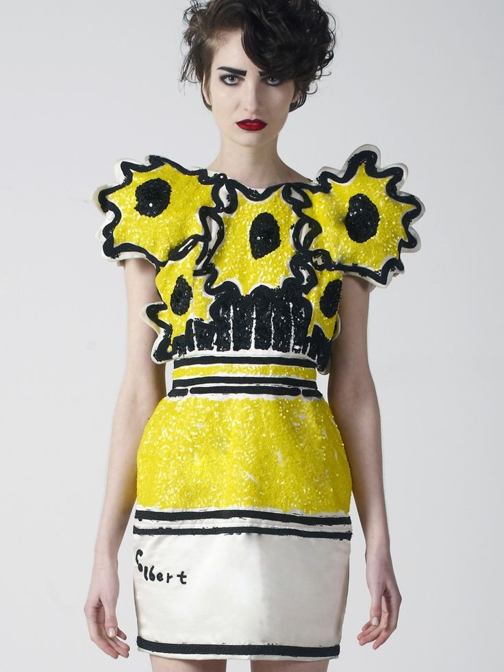 The Sunflower Dress was inspired by Vincent Van Gogh and is signed by the designer, Colbert. This is a handmade artwork dress, with intense sequin and embroidery work. Limited edition of five.