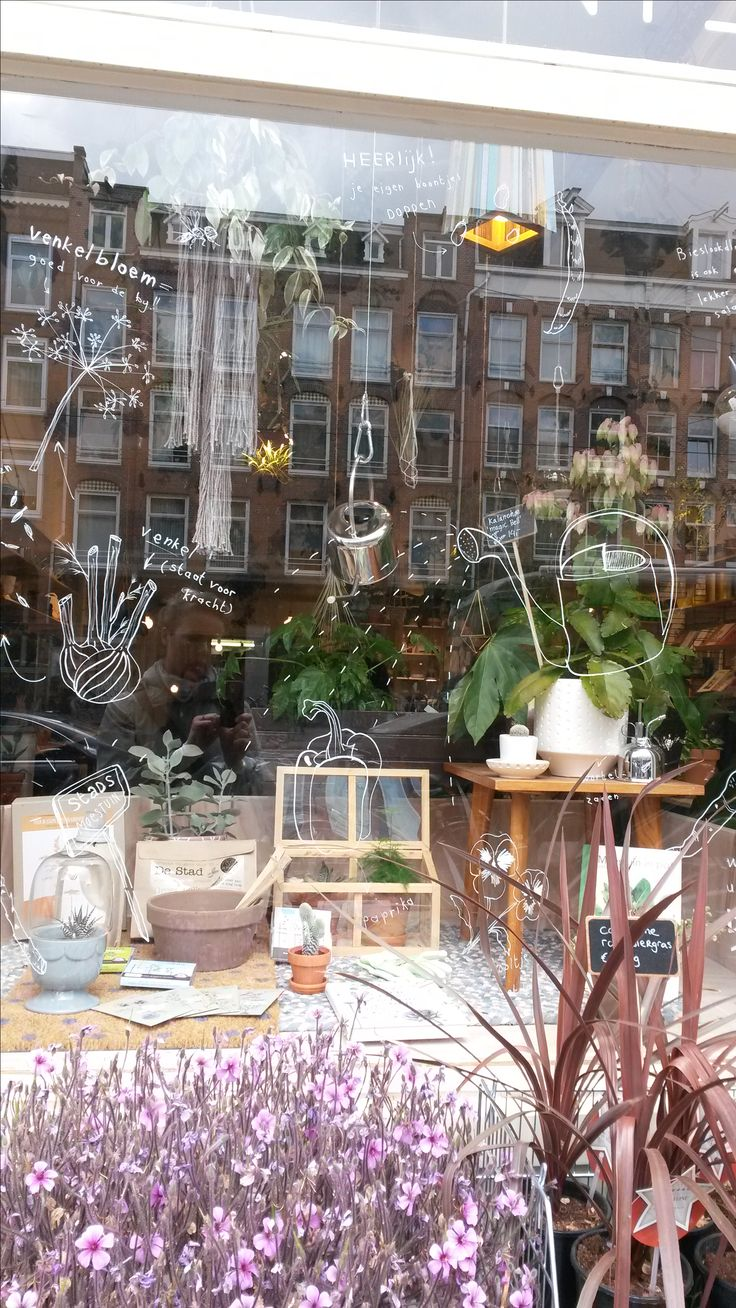 Shop at Wildernis Amsterdam - pale  pinks and greens and hanging pots of all descriptions
