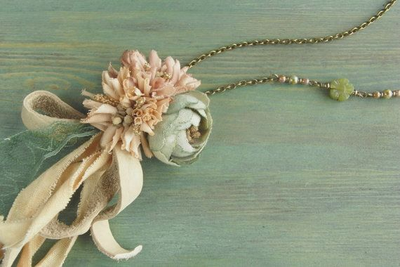 petite bouquet necklace - hand dyed - pastel color, rose necklace, leather bow, jade, fabric flower necklace