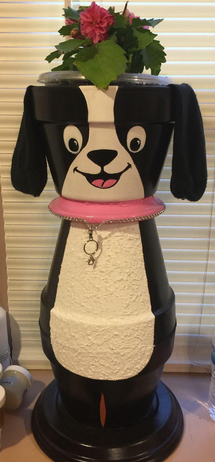 clay pot dog bastelei pinterest tont pfe. Black Bedroom Furniture Sets. Home Design Ideas