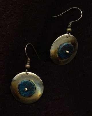 Kolczyki z mosiądzu Chryzokoli nowego srebra Biżuteria rękodzieło handmade mosiądz