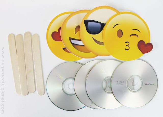 Download and print free emoji fan graphics and create these awesome fans from CDs and tongue depressors! A great way to keep cool for kids and adults alike!