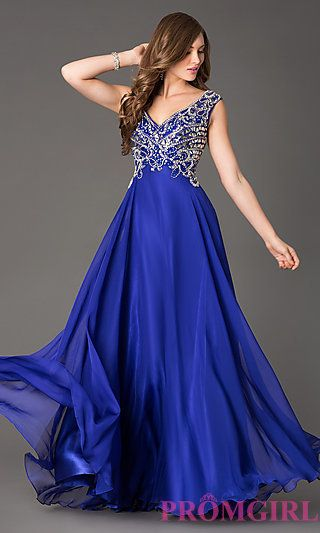 *PROM*Long V-Neck Prom Dress at PromGirl.com