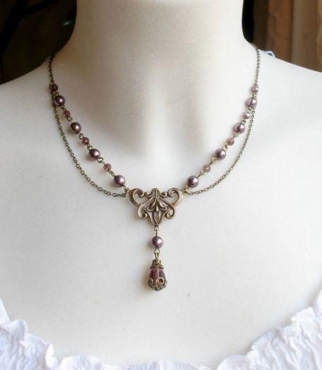 """Collier, Art Nouveau,vintage,victorien,"""", Bijoux, Collier - http://boutique.lencharmee.fr"""