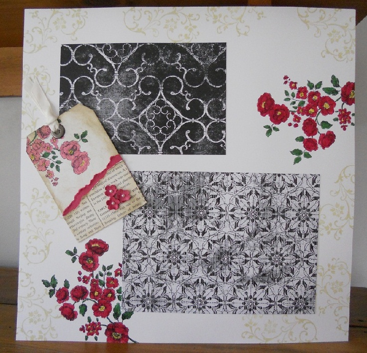 Vintage black white and red floral page