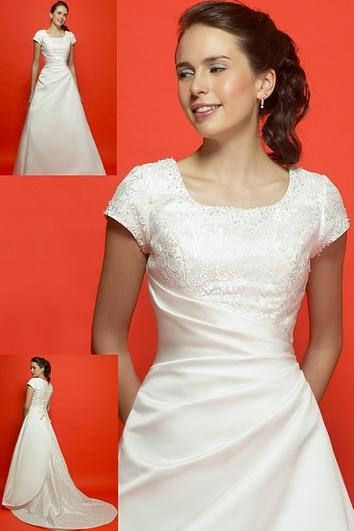 Modest White Wedding Dress with Sleeves, Size 14, LDS Wedding, Mormon Wedding. Temple Wedding, All White Wedding Dress, plus size dress All White Lace and Satin Satin A-Line Wedding Dress Size 14 with generous side seams Round Neckline and short sleeves will cover LDS garments for