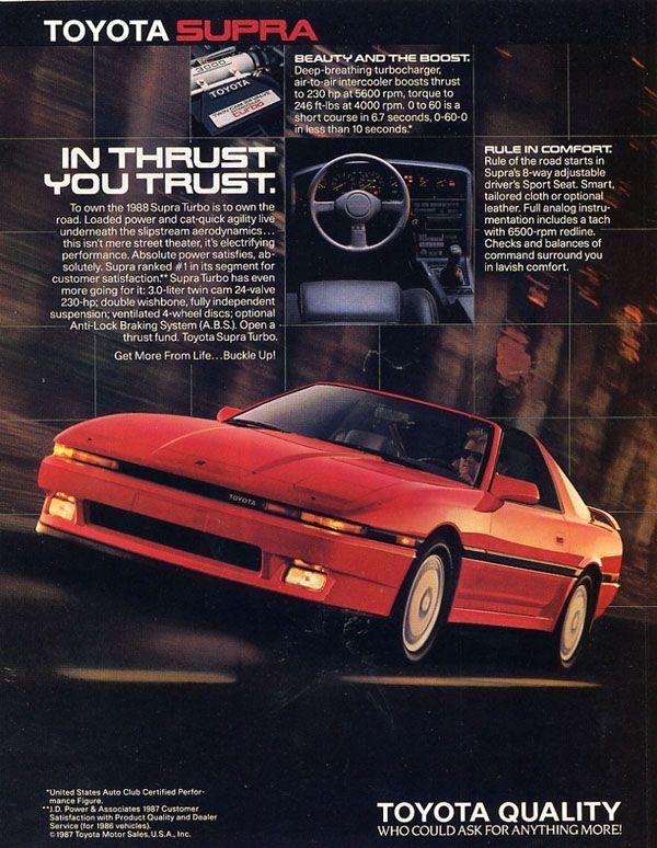 Throwback Advertising The 89 Toyota Supra Throwback