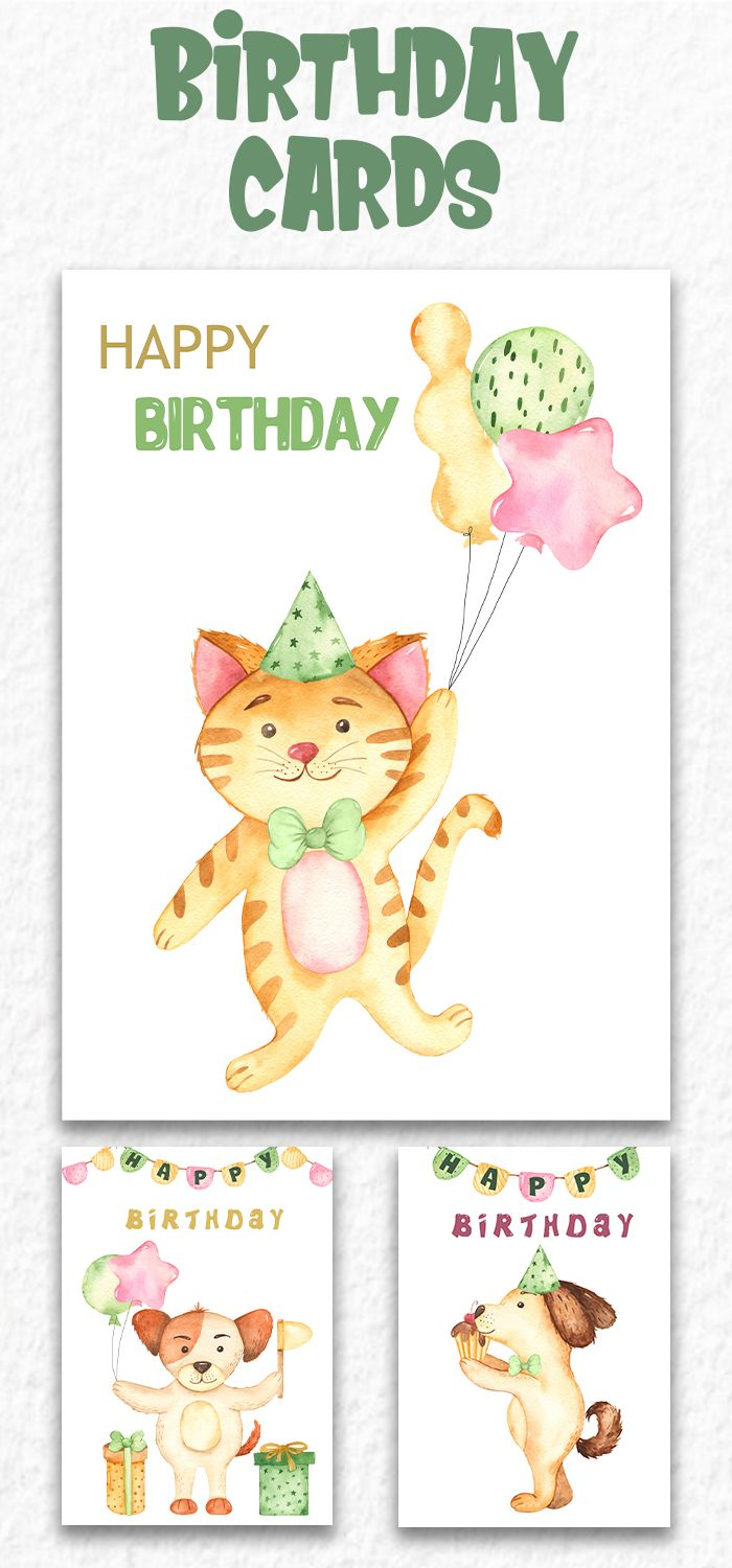 Happy Birthday Baby Greeting Card Template For Download Cute Cartoon Watercolor Cat And D Baby Greeting Cards Watercolor Birthday Cards Greeting Card Template