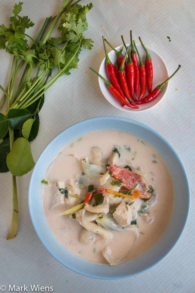 Tom Kha Gai -sub red curry paste for chilies if not avail-add chicken stock-fish sauce instead of salt