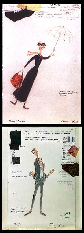 Costume renderings for 'Mary Poppins' by Tony Walton