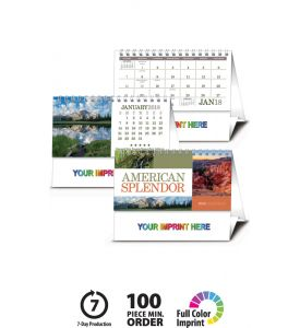 Product: 1D507 2018 American Splendor Desk Calendar Basic custom imprint setup & PDF proof included! Beautiful landscapes from across the United States enhance this desktop calendar. Desk calendar includes the same ad message printed on both sides of the tent mount. Backside features same month as front, but with large month grid without photo. Norwood Publishing / 4251