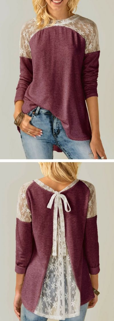Long Sleeve Tie Back Lace Panel Purple Blouse, long sleeve blouse, lace panel blouse, fall blouse, fall blouses, blouse for women, womens fashion ,blouse outfits, top outfits, cute top, cute blouse, cute blouses, tunic blouse, tunic blouses, causal blouse, classy blouse, rosewe blouse, fall outfits,moda blouse, blouse 2017 new, fall spring blouse, free shipping worldwide at rosewe.com.