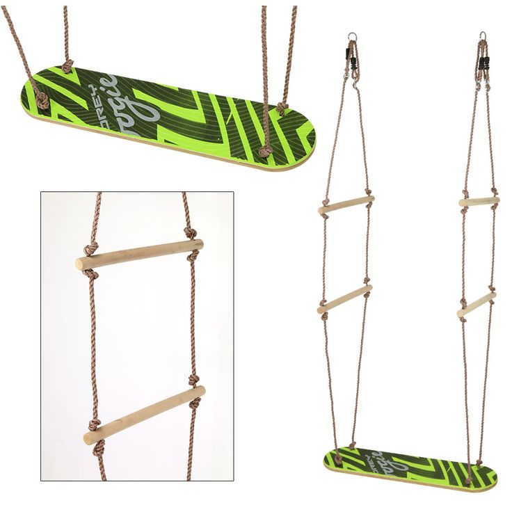 The Skateboard Swing from Wonderland Sports combines the elation of swinging with the excitement of skateboarding to create a double-the-fun swing. Just attach it to a sturdy tree branch or swing set.