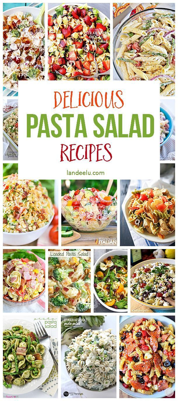 A HUGE pasta salad recipe collection! The BEST Pasta Salads for potlucks, BBQs, camping and cookouts!  Perfect for the summer months coming up!