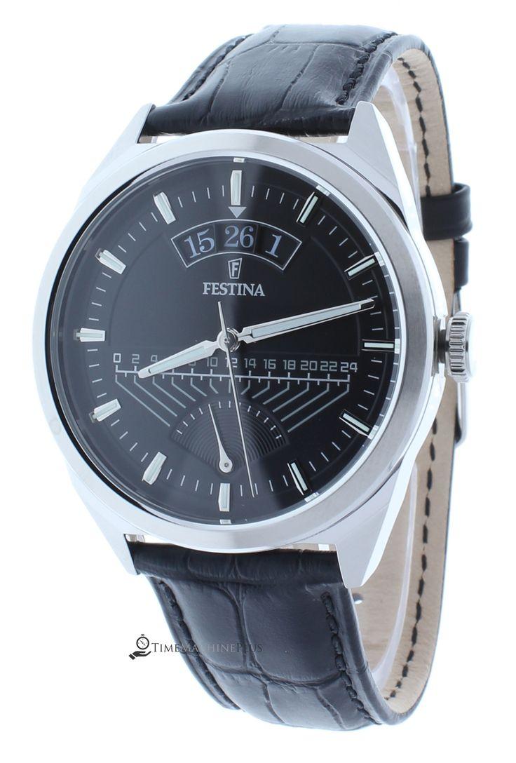 Festina F16873/4 Men's Retro Watch Black Dial Large 24-Hour GMT Indicator