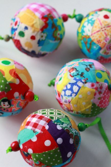 Fabric Scrap Christmas Ornaments.  Great festive craft for kids or adults.