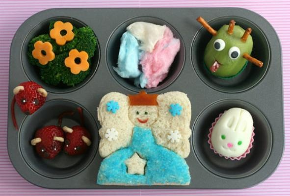 Little Bunny Foo Foo  The magical forest (broccoli with cheese flowers), fairy floss (cotton candy) and field mice (strawberries & sprinkles) make up a few part of this adorable nursery rhyme themed lunch.
