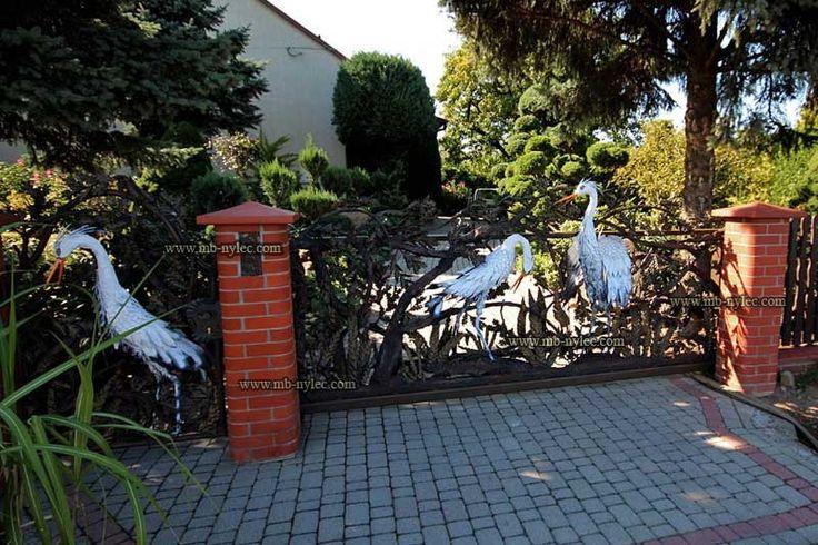 Kuta brama z czaplami / Wrought iron gate with heron