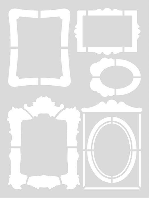 Handig groot herbruikbaar sjabloon met 5 kadertjes. Leuk voor het eenvoudig aanbrengen van een tekening op de muur, vloer, plafond, meubels, blikken, dozen, sto