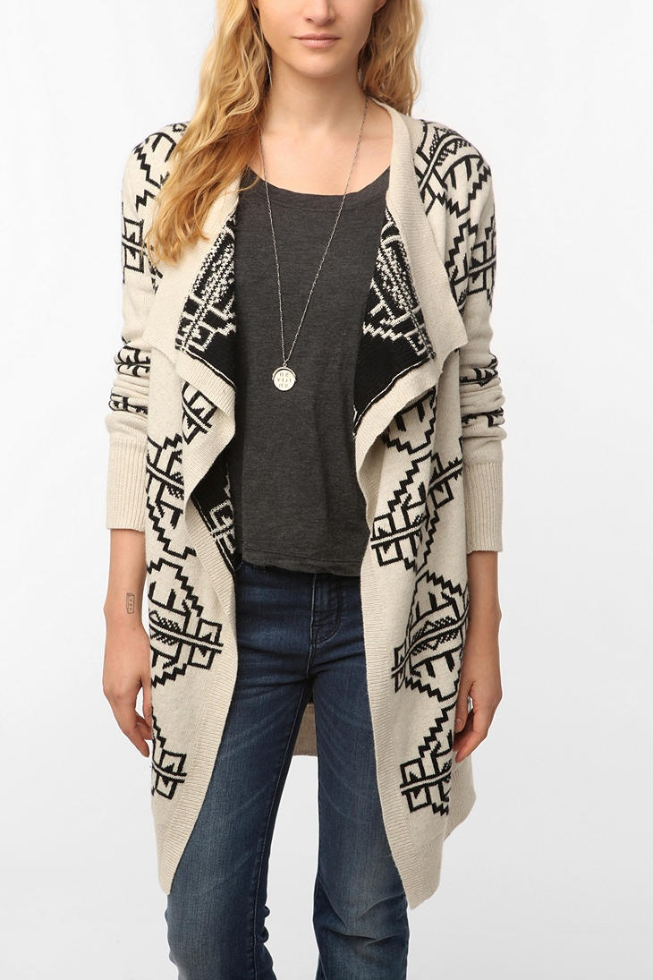 Staring at Stars Reversible Intarsia Open Cardigan