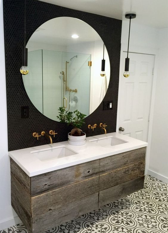 Design Styles- Modern Industrial style bathroom-Matte Black penny round tiles: