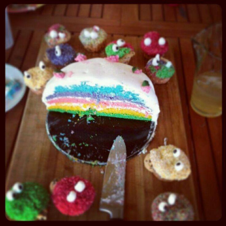hartz4vegan: Regenbogentorte mit Buttercreme