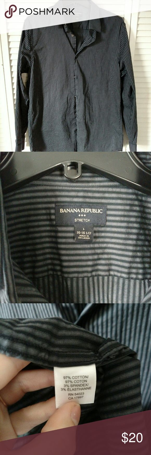 Banana Republic men's casual striped shirt Men's large Banana Republic casual shirt.  No issues, used. Banana Republic Shirts Casual Button Down Shirts