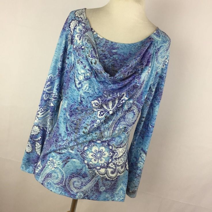 Robert Graham S Sm Shirt Women's Purple Blue Paisley Cowl Neck Long Sleeve A3P  | eBay