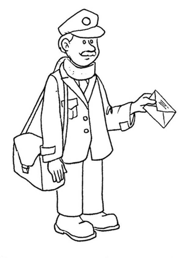 Mailman Delivering Mail In Professions Coloring Pages Batch Coloring Coloring Pages Community Helpers Postman