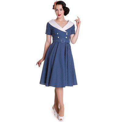 Vestido vintage de lunares en azul, disponible en un gran abanico de tallas. www.monanva.com