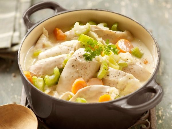 Waterzooi, , a hearty fare that's long established with the Flanders region of Belgium. Waterzooi traditionally consists of either fresh or sea water fish, although in recent times with the lack of fish in the rivers of Ghent, chicken Waterzooi (known as 'Kippenwaterzooi) has become more common.