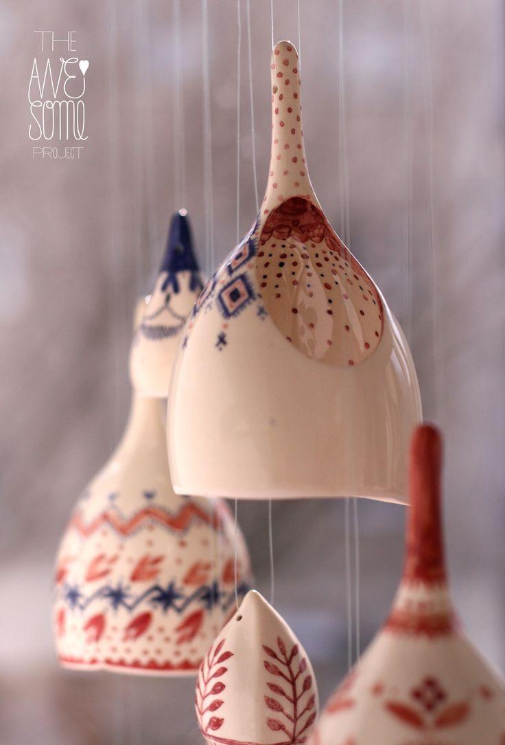 The Awesome Project - Illustrator Madalina Andronic & designer Claudiu Stefan. porcelain, underglaze colours, stoneware glazes. Influenced by Romanian folklore
