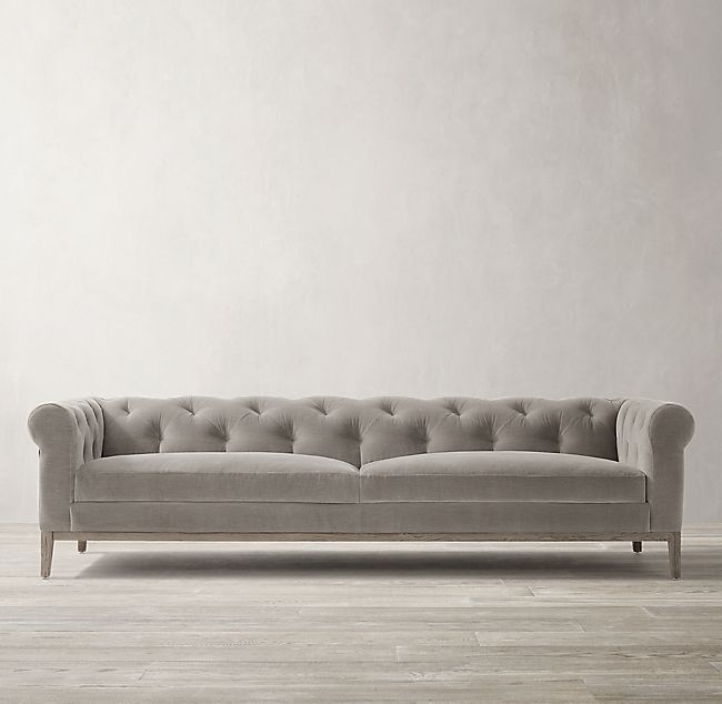 Italia Chesterfield Sofa Oak Base Fabric Sofa Sofa