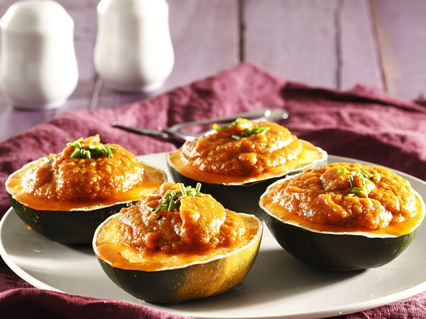 for veggie Thursday - Gem squash filled with sweet potato and butternut