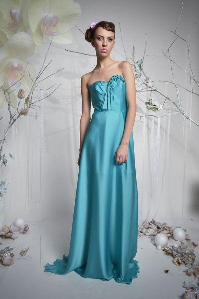Butterfly - długa suknia wieczorowa - turkus   Milita Nikonorov oficjalny butik projektantki