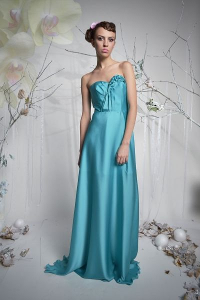 Butterfly - długa suknia wieczorowa - turkus | Milita Nikonorov oficjalny butik projektantki