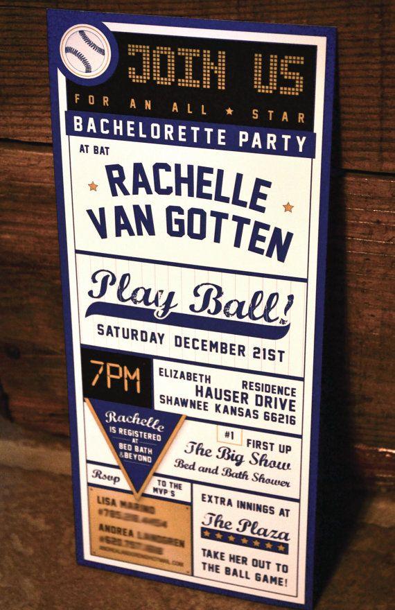 Baseball Bachelorette Party Invitation, 3.00 each